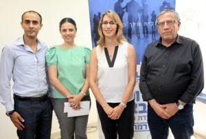 """מימין -זינגר, עו""""ד מנע, השרה איילת שקד וסגן ראש העיריה בן משה.צילום: אילן ספירא"""
